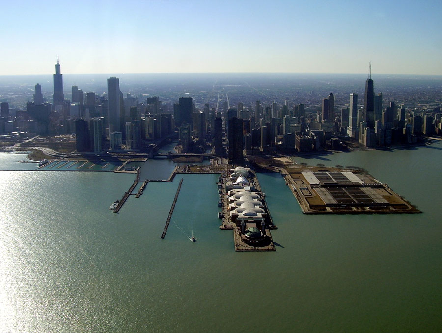 Chicago with Navy Pier in the foreground. Shot taken before the Trump Tower was built.