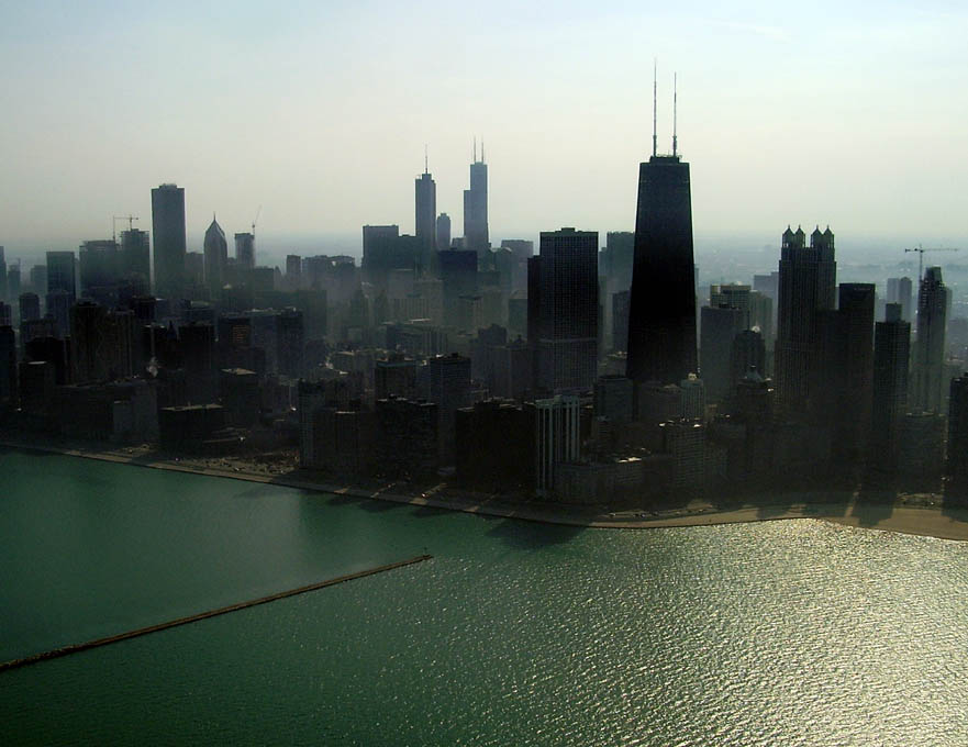 Downtown Chicago with Oak Street Beach on the far right.