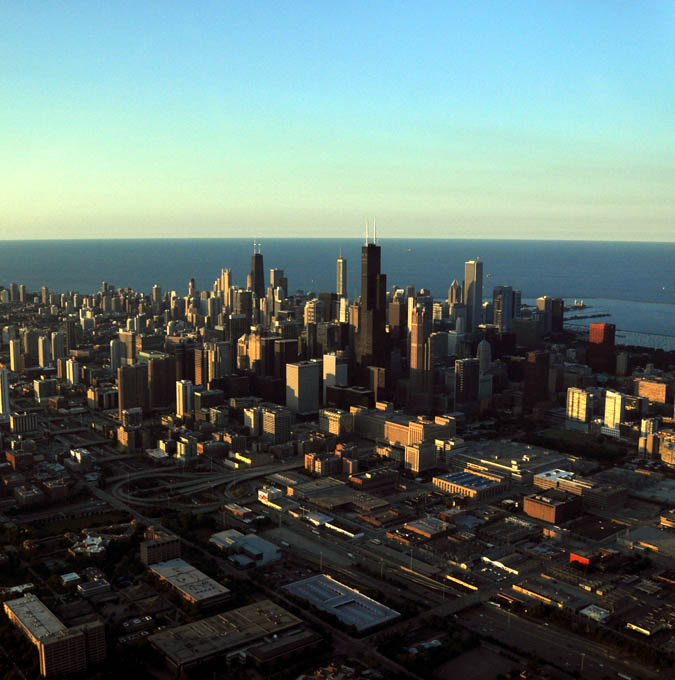 The backside of Chicago glows in the afternoon sun.