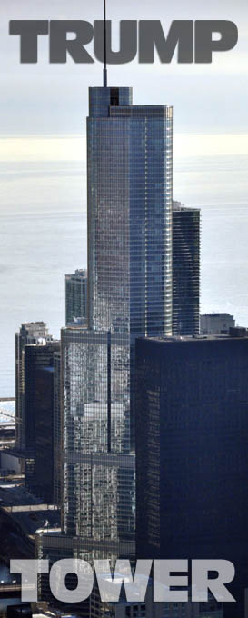 Aerial photo of Trump Tower, Chicago.